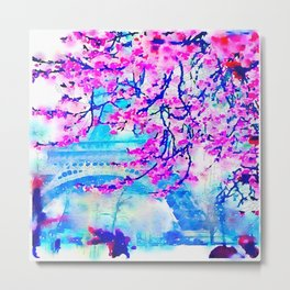 Paris Day in Fuchsia and Blue Metal Print