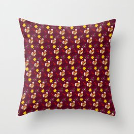 Hammy Pattern in Burgandy / Deep Red Throw Pillow