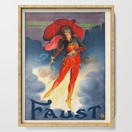 old placard faust diable Serving Tray
