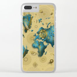 world map gold vintage decor Clear iPhone Case