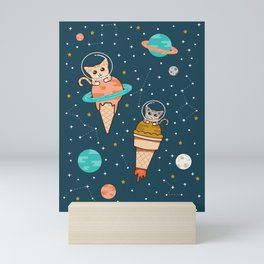 Cats Floating on Ice Cream in Space Mini Art Print