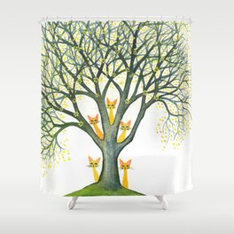 Odessa Whimsical Cats in Tree Shower Curtain
