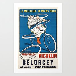 French vintage travel Michelin poster Belorgey Cycles France Art Print