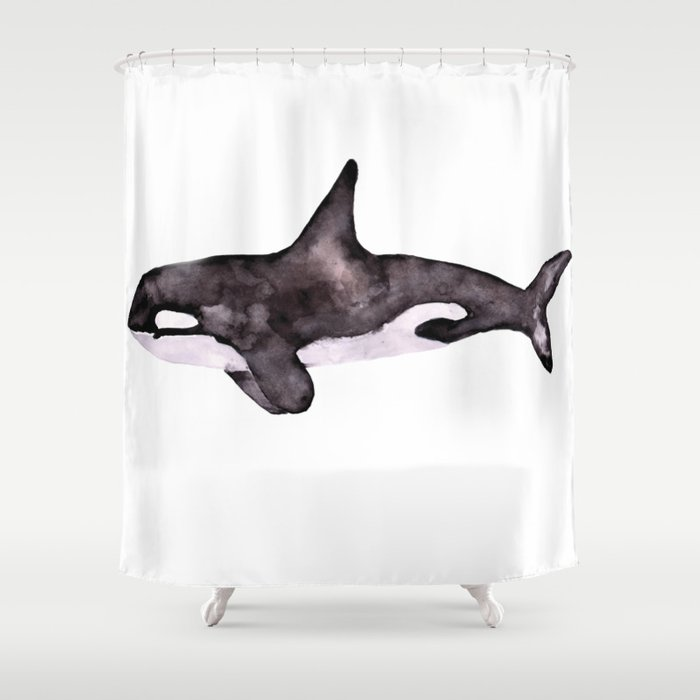 Watercolor Orca Killer Whale Shower Curtain