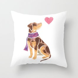 Watercolour Catahoula Leopard Dog Throw Pillow