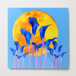 GOLDEN FULL MOON BLUE CALLA LILIES BLUE ART Metal Print