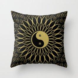 'Yin Yang Golden Daisy' Gold Black mandala Throw Pillow