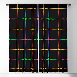 Neon diamonds. Pattern or background of multicolored neon stars on a black background Blackout Curtain