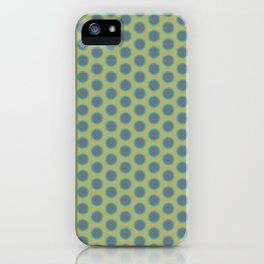 LIMON - grey & bright sea green polka-dots on chartreuse iPhone Case