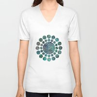 floral V-neck T-shirts featuring Floral Abstract 4 by Klara Acel
