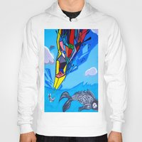 transformer Hoodies featuring Trippy Transformer Bird Mixed Media Painting on Canvas by VibrationsArt