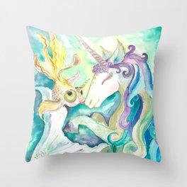 Kelpie unicorn and goldfish Throw Pillow
