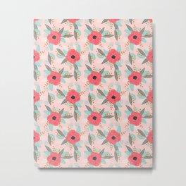 Poppies pink pastel red florals flowers pattern boho dorm college trendy garden plants poppy flower Metal Print