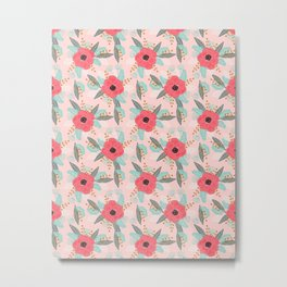 Poppies pink pastel red florals flowers pattern boho dorm college trendy garden plants poppy flower Metal Print