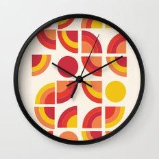 Boogie - abstract retro minimalist 70s 1970s style pattern art 70's 1970's Wall Clock