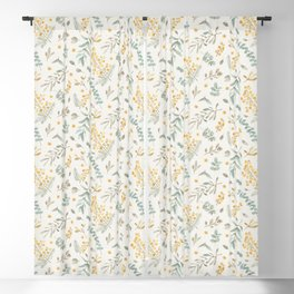 Australian wattle and eucalyptus watercolor floral Blackout Curtain
