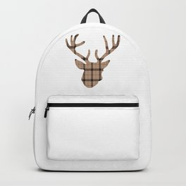 Plaid Deer Head: Brown Backpack