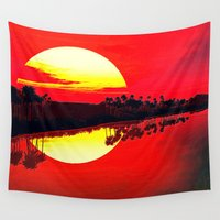 duvet cover Wall Tapestries featuring Sunset duvet cover by customgift