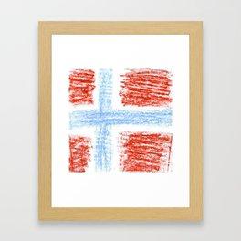 flag of norway 10 – Chalk version  snow,scandinavia,scandinavian,norwegian,oslo Framed Art Print