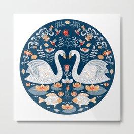 Swans, fish, hummingbirds, flowers and leaves. Circular decorative ornament. Folk art. Metal Print