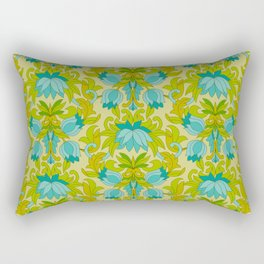 Turquoise and Green Leaves 1960s Retro Vintage Pattern Rectangular Pillow