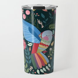 Folk Art Inspired Hummingbird With A Flurry Of Flowers Travel Mug