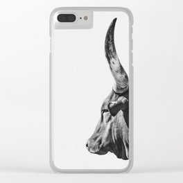Animal Photography | Ankole-Watusi | Cattle | Bull | Steer | Black and White Clear iPhone Case