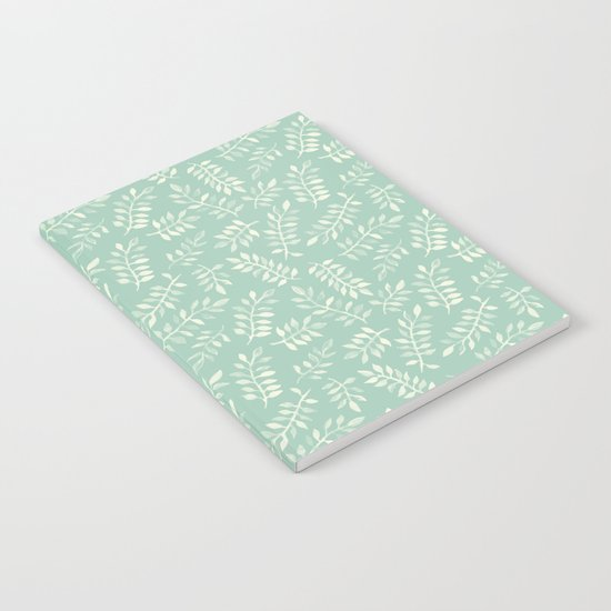 Painted Leaves - a pattern in cream on soft mint green Notebook