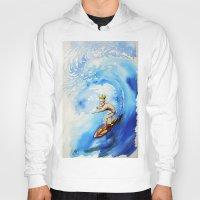 surfer Hoodies featuring Surfer by Jose Luis Ocana