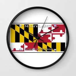 Maryland License Plate Flag Wall Clock