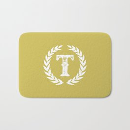 Mustard Yellow Monogram: Letter T Bath Mat