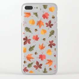 Autumn Leaves Pattern Black Background Clear iPhone Case