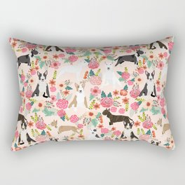 Bull Terrier dog breed pattern florals dog lover gifts pet friendly designs Rectangular Pillow