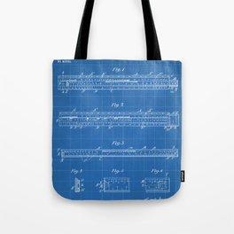Engineering Patent - Engineers Slide Rule Art - Blueprint Tote Bag