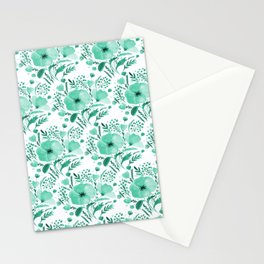 Flower bouquet with poppies - aqua Stationery Cards
