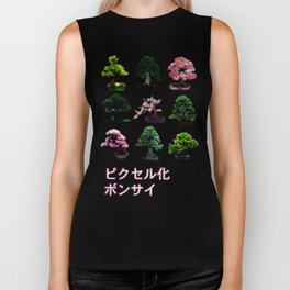 Pixelated Bonsai  Biker Tank