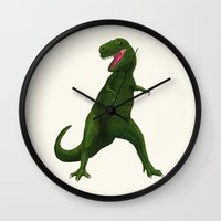 t rex Wall Clocks featuring T Rex by Lydia Meiying