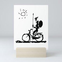 Don Quixote Riding Bike, Sketch Line Parody 1955 T Shirt Mini Art Print