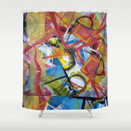 Boundary Line Red Shower Curtain