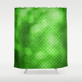 Green Flash small scallops pattern with texture Shower Curtain