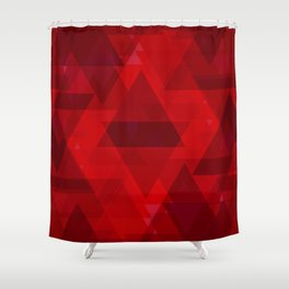Bright red large triangles in the intersection and overlay. Shower Curtain