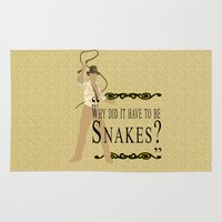 indiana jones Area & Throw Rugs featuring Indiana Jones- Why Did it have to be Snakes? by margybear