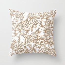 Bakery Foods Line Art Design Throw Pillow