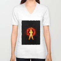 kakashi V-neck T-shirts featuring NARUTO - kyubi chakra by kattie flynn