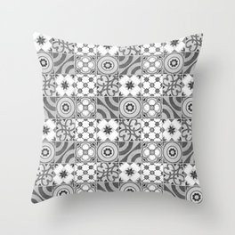 Patchwork pattern -  Quilt Design - black and white illustration Throw Pillow