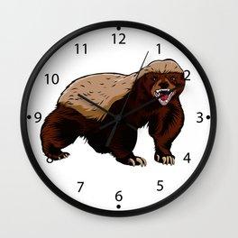 Honey badger illustration Wall Clock