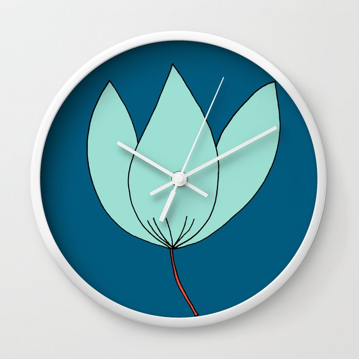 Whimsical Blue Flower Drawing by Emma Freeman Designs Wall Clock