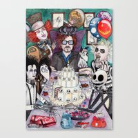 tim burton Canvas Prints featuring TIM BURTON TEA PARTY by ●•VINCE•●