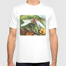 Amber Dragonfly MEDIUM Mens Fitted Tee White