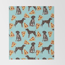 German Shorthair Pointer dog breed pet art pizza slices pattern design by pet friendly dog lovers Throw Blanket
